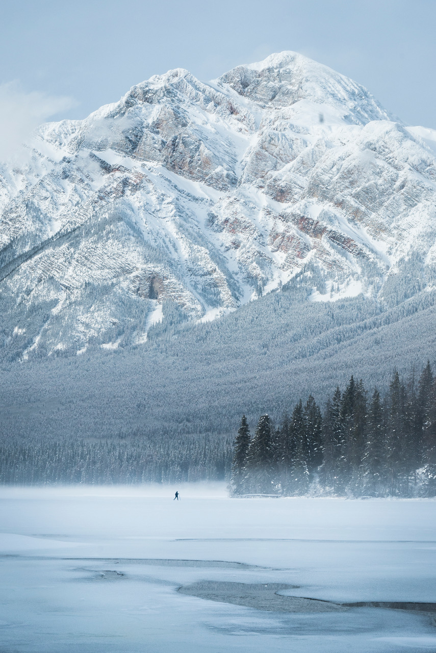Skier on Pyramid Lake - Jasper National Park