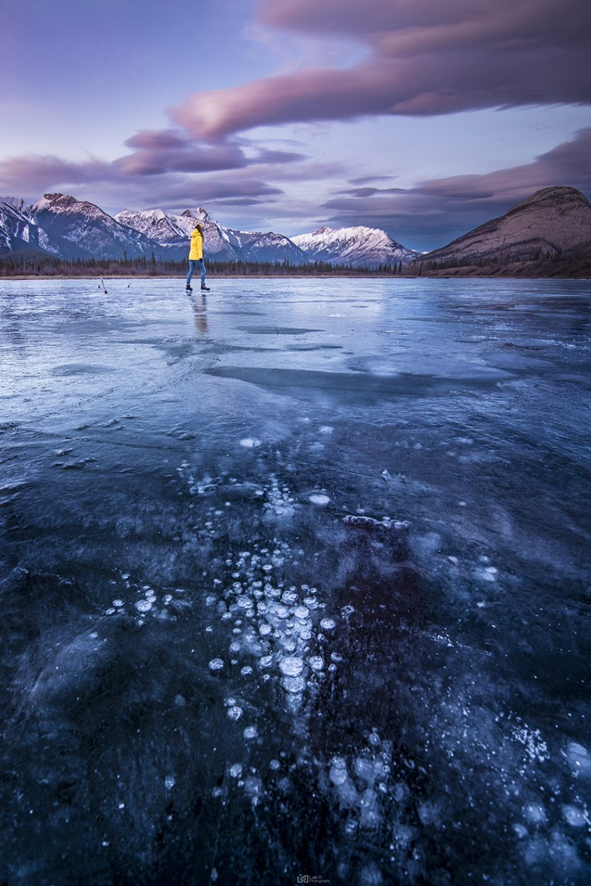 Skating on Snaring Pond - Jasper National Park