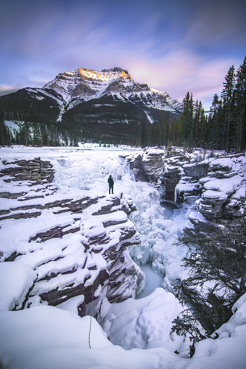Sunset over Athabasca Falls - Jasper National Park