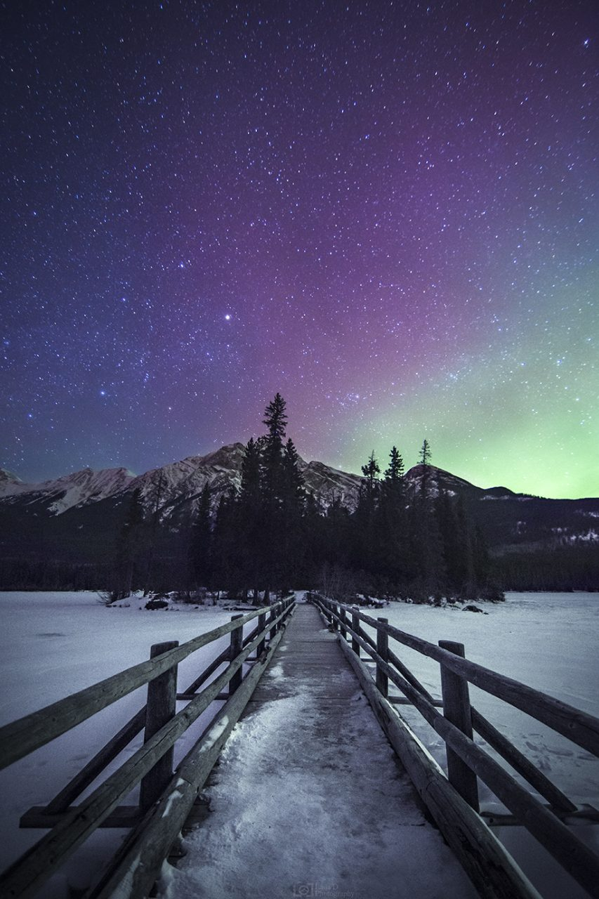Aurora over Pyramid Mountain - Jasper National Park