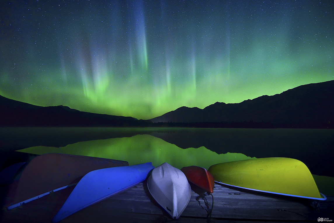Aurora from Lake Edith - Jasper National Park