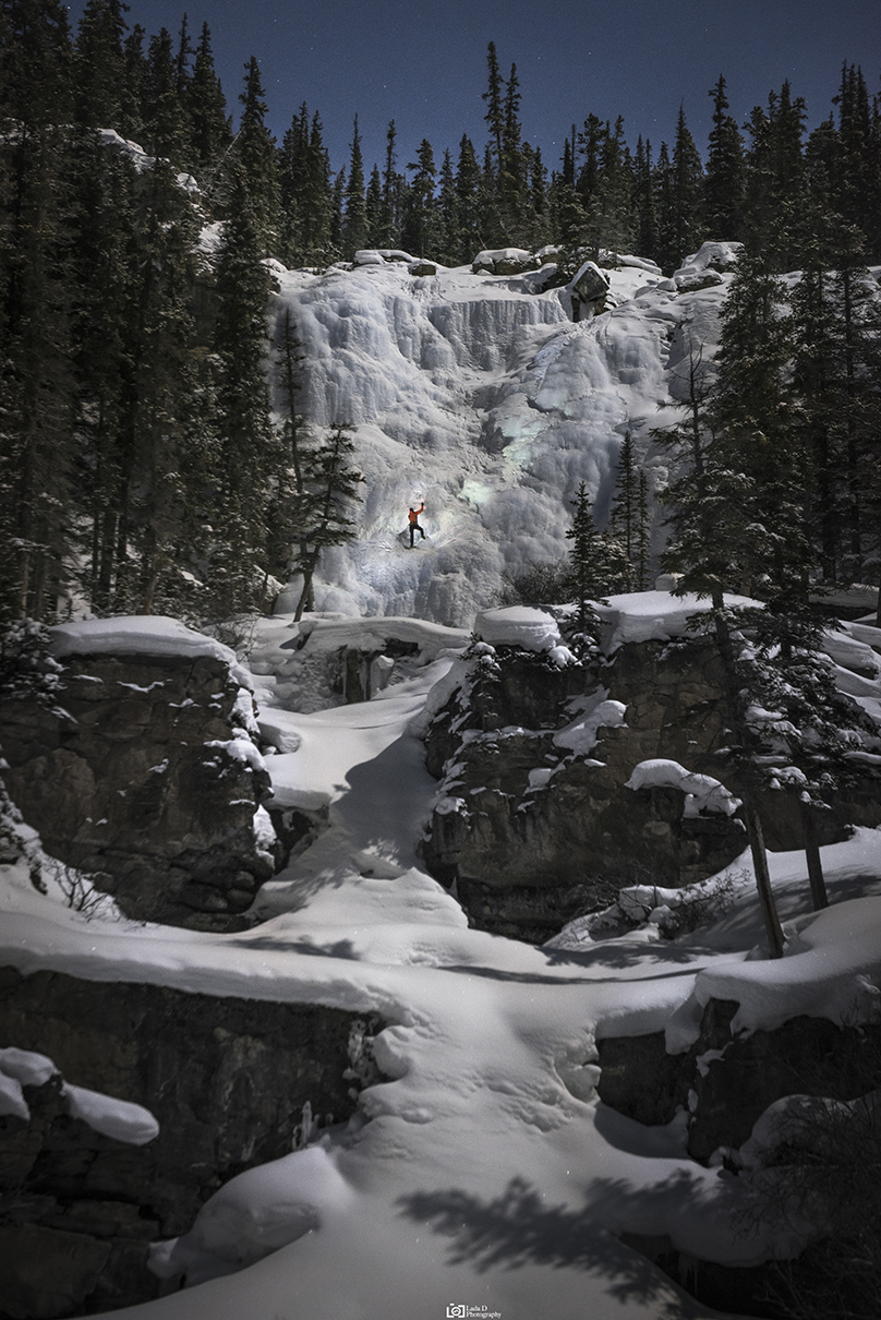 Full Moon -Tangle Falls, Jasper National Park